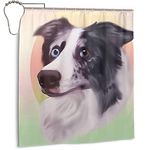 Elightvap Cute and Funny Border Colt Shower Curtain Printed Bathroom Decoration with Hook Polyester Fabric Machine Wash Waterproof Shower Curtain 66 X 72 Inches