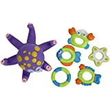 Lantro JS Pulpo, Juguete de baño, Bordes Lisos, Saludable, Suave, no tóxico para niños(Small Octopus Six Piece Set-Bag)