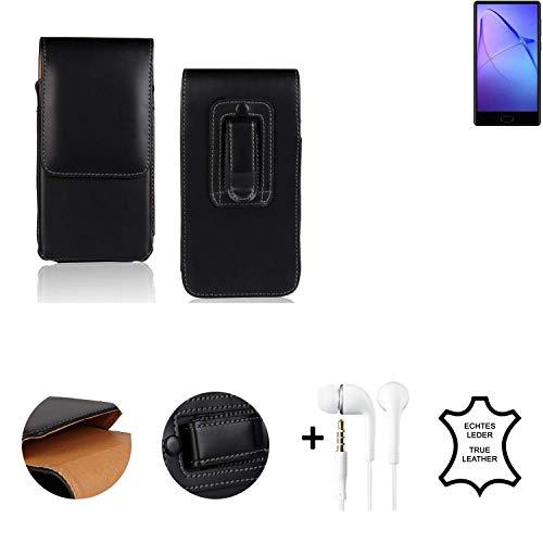 K-S-Trade® Leder Gürtel Tasche + Kopfhörer Für Bluboo S1 Seitentasche Belt Pouch Handy-Hülle Gürteltasche Schutz-Hülle Etui Schwarz 1x