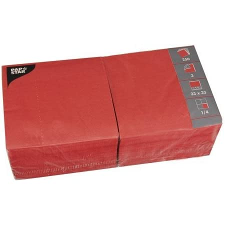 Papstar Servietten Tissueservietten Rot 250 Stück 3 Lagig 1 4 Falz 33 X 33 Cm Für Gastronomie Haushalt Und Feste Aus Fsc Zertifiziertem Tissue 12483 Bürobedarf Schreibwaren