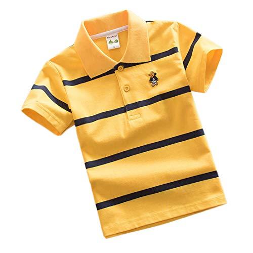 Jungen Polo Shirt Kurzärmlig Sommer T-Shirt Streifen Kinder Reverskragen Tops Jugendliche Schule Oberteil Jersey für 7-13 Jahre ((24#) 165/ ~12-13 Jahre, Gelb)