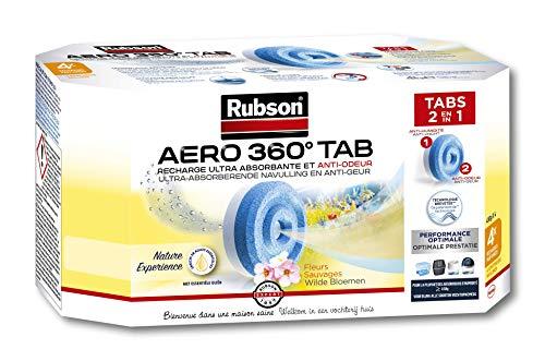 Rubson Aero 360° ricariche in pastiglie profumo, fiori salvaggi, ricariche per assorbitore di umidità, ultra assorbenti e anti odori, ricarica per deumidificatore, 4 x 450 g