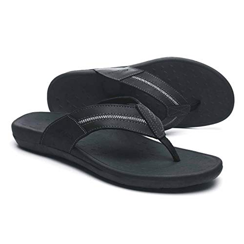 Orthopedic Flip Flops for Men, Fashionable Thong Sandals with Arch Support, Plantar Fasciitis Toe Post Slippers with Genuine Leather Size 8