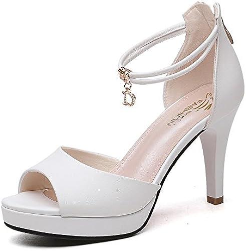Jqdyl Talons Hauts Summer New Sandals Femme Fine avec des Chaussures à Talons Hauts Boucle de Poisson Bouche Chaussures de Travail des Chaussures pour Femmes