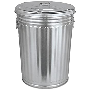 Amazon Com Pre Galvanized Trash Can With Lid Round Steel 20gal Gray Sold As 1 Each Home Kitchen