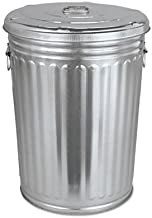 Pre-Galvanized Trash Can With Lid, Round, Steel, 20gal, Gray, Sold as 1 Each