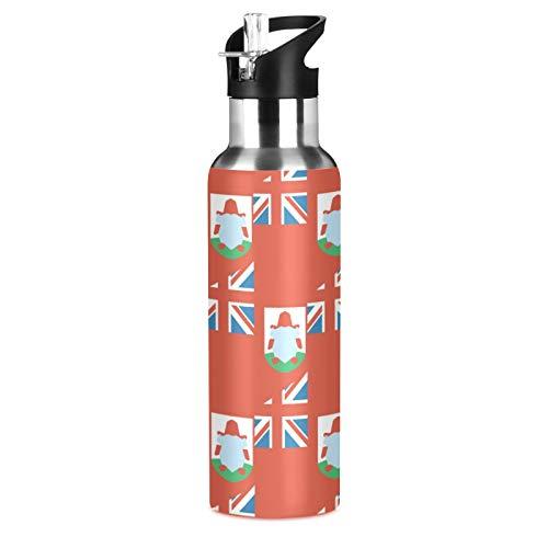 Bermuda Flag Sport Botella de agua de acero inoxidable 304, botella de agua aislada al vacío con pajita (600 ml)