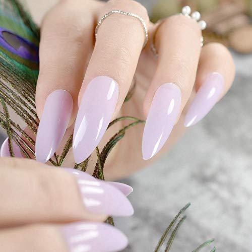 TJJF Extra Longs Ongles En Plastique Violet Clair Brillant Show Doigt Plein Ongles Point Manucure Conseils Avec Colle Autocollant
