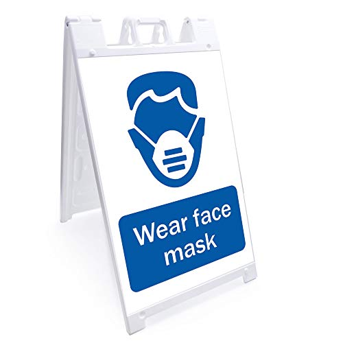 OSHA Notice Sign - Wear Face Mask | Sidewalk Sign with Graphics On Each Side | 24' X 36' Print Size | Protect Your Business, Class Room, Office & Interior Surroundings | Made in The USA