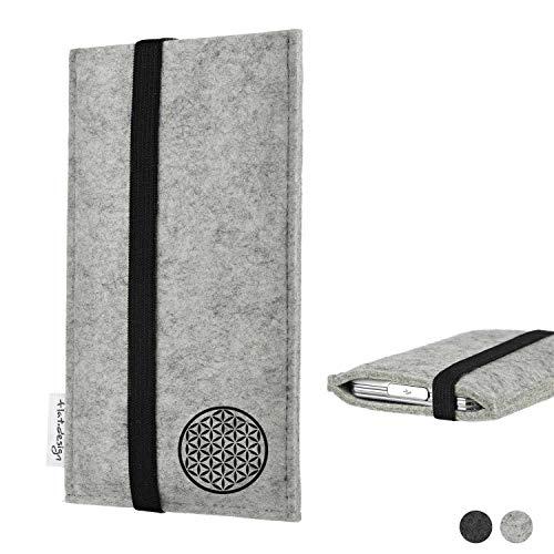 flat.design Handy Hülle Coimbra für Huawei P20 Pro Single-SIM handgefertigte Handytasche Filz Tasche Hülle Blume des Lebens Lebensblume