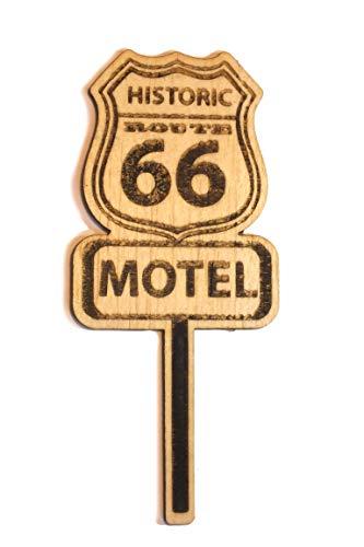 Boutique d'isacrea - Cortador láser sobre madera balsa de 2 mm, panel motel Ruta 66 años 60