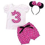 FYMNSI Conjunto de ropa 3 piezas para bebé, niñas 1, 2, 3, 4 y 5 cumpleaños, diseño Minnie con lunares, camiseta manga corta + pantalones cortos diadema las orejas. Rosa 3º cumpleaños 2-3 Años