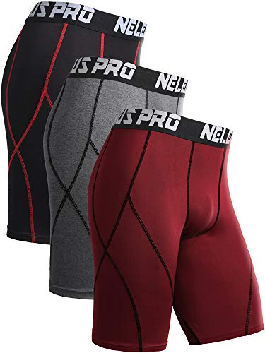Neleus Men's 3 Pack Sport Running Compression Shorts,6012,Black (Red Stripe),Grey,Red,XL,EU 2XL