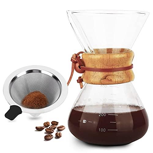 Cafetera de Vidrio de Borosilicato Alto de 400ml con Filtro de Acero Inoxidable , Cafetera Manual de Goteo de Café con Funda de Madera Real, no Necesita Filtros de Papel