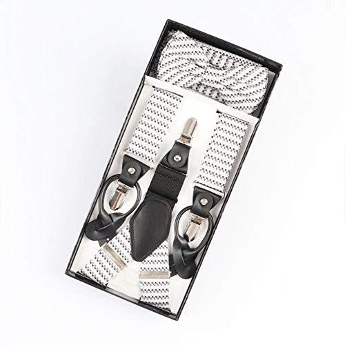 Koupany Männer Dual-Use Zurück Krawatte Knoten Bogen Set DREI Clip Hängende Hosen Gürtel 110 cm * 3,5 cm