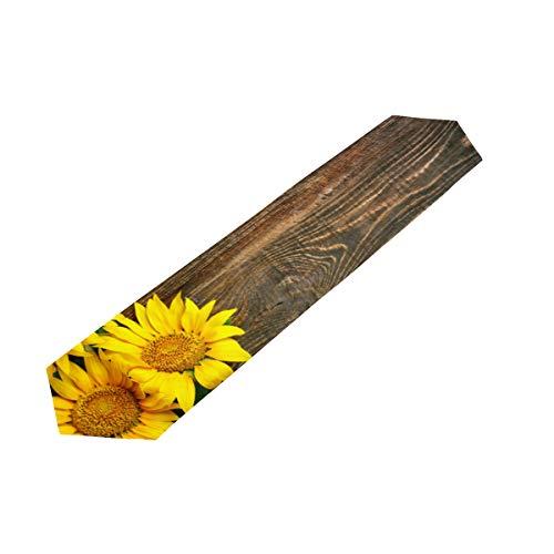 MOMOYU - Camino de mesa de madera con girasol, antideslizante, resistente al calor, fiesta, boda, cocina, cena, campo, campo, decoración de mesa de picnic al aire libre, 33 x 177 cm