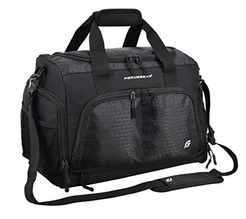 Ultimate Gym Bag 2.0: The Durable Crowdsource Designed Duffel Bag with 10 Optimal Compartments Including Water Resistant Pouch (Black, Medium (20'))