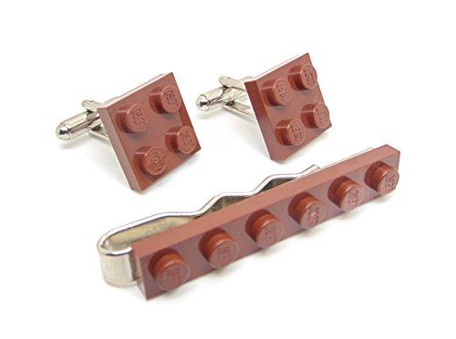 Marron véritable plaque de Lego Pince à cravate et boutons de manchette – Funky rétro Cool Boutons de manchette fabriqué par Jeff Jeffers