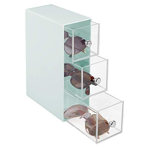 mDesign - Presentatiedoos voor brillen - brillendoos/opbergbox/houder voor zonnebrillen, leesbrillen en accessoires - met 3 lades/horizontaal of verticaal te gebruiken/plastic/chromen knoppen - mintgroen/doorzichtig