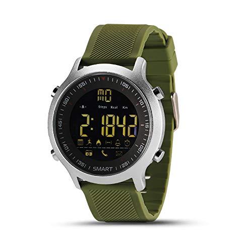 KawKaw EX18 Edelstahl Smartwatch mit Alarm, Fitnesstracker, Schlaftracker, Pedometer, Schrittzähler & Kalorienzähler - Wasserdicht mit vielen Sportfunktionen für Damen, Herren & Kinder (Grün)