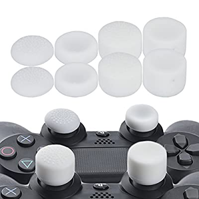 YoRHa Professional Thumb Grips Thumbstick Joystick Cap Cover (White) Extra High 8 Units Pack for PS4, Switch PRO, PS3, Xbox 360, Wii U Tablet, PS2 Dualshock 4 Controller