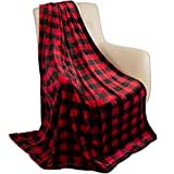 Flannel Fleece Throw Blanket for Couch Red and Black Christmas Blanket Lightweight Cozy Comfy Super Soft Buffalo Plaid Blanket for Bed Sofa 260GSM (Red Black Checker,60x80inches)