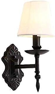 Lámpara de pared, decoración Lámpara de pared de radiador de cabeza única de tela blanca vintage, tamaño de la cabeza 14 * 30 cm (este producto no contiene luces)