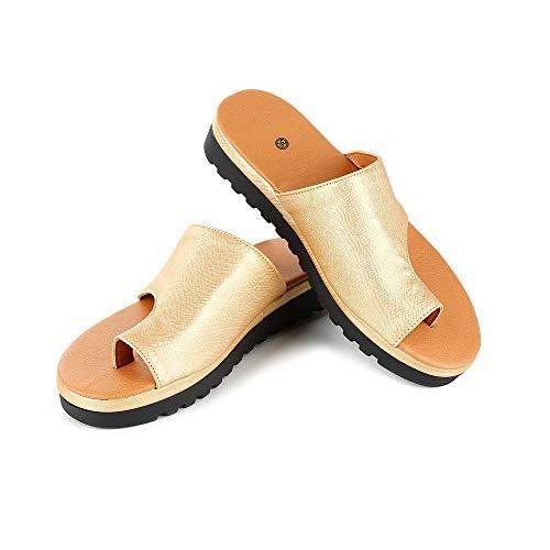 horen Sandalias Correctivas Sandalias Correctoras de Juanetes Ortopédicos Zapatos de Cuero de Pu para Mujer Zapatos de Corrección de Punta Gruesa Casual para Mujer de Fondo Grueso