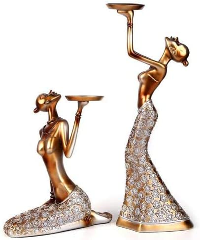 1Pair Vintage Abstract Lady [Alternative dealer] Candle Choice Statue Sculpture Candl Holder