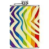 Petacas de Alcohol Arco iris jpg Petacas de Licor Acero Inoxidable 227ml Frasco de Whisky Botella de bolsillo Con embudo 9.2x15cm