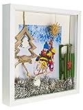28 x 28 cm Box 3D Cornice Portafoto con Passepartout 20 x 20 cm, Bianco