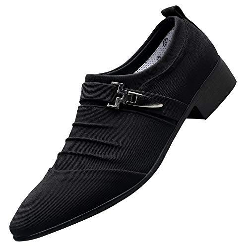 Skxinn Herren Schwarz Business-Schuhe mit Absatz Canvas Elegant Anzug Schuhe Blau Grau für Hochzeit Business Gr 38-47(Schwarz,46 EU)