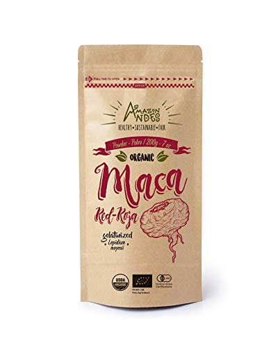 Amazon Andes Red Maca Root Powder – 198,4 g (40 porzioni) – Certificato BIO USDA – Gelatinizzato – Vegan – NO OGM
