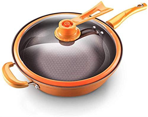 Art Jian Poêle en Fonte, poêle en Fonte de Cuisine poêle ustensiles de Cuisine Casserole avec Couvercle en Verre Amovible, Wok poignée de Silicone, Cuisinière Universelle, 32cm,Orange