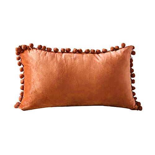 INMOZATA Cushion Pads with Cushion Cover 30 x 50cm Square Orange Cushion Inserts Soft Velvet Polyester Pillow Cushion Filler for Bed Chair Sofa, 1 Piece (12 x20 inch)