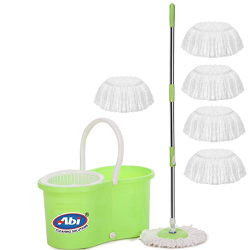 ABI CLEANING SOLUTIONS Mop with 6 Refills Super Absorbent Refills for All Home & Office Floor Cleaning,360 Degree Spin Bucket, 180 Degree Flexible Handle,for Perfect Cleaning (Green)