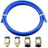 DZS Elec 5pcs/Set Pneumatic PTFE Tube Push Fitting Connector for 3D Printer 1.75mm Filament (1x 1.5m Blue PTFE Tube + 2X PC4-M6 + 2X PC4-M10)
