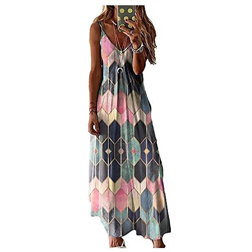 Vestido de chaleco de tirantes estampado de verano para mujer