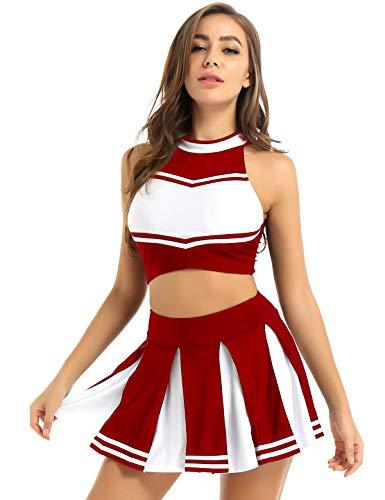 renvena Damen Cheer Leader Kostüm Cheerleading Cosplay Uniform Ärmellos Bauchfrei Oberteil mit Mini Faltenrock Karneval Fasching Party Tanz Kostüme B Rot M