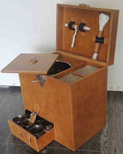 Casa Padrino Echtleder Minibar/Kofferbar mit Zubehör 32 x 23 x H. 36 cm Qualität