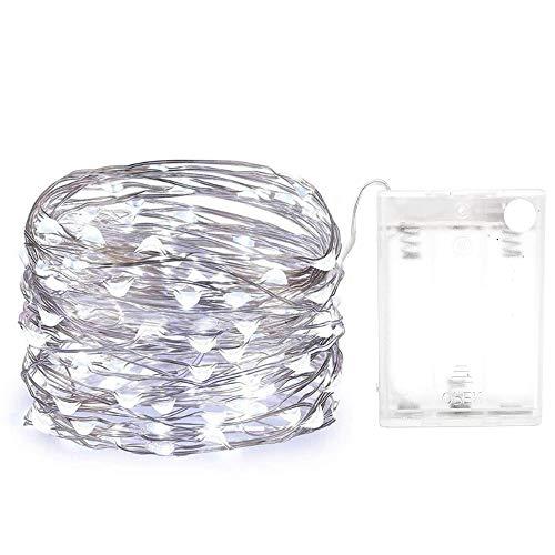 Yakamoz 10M 100 LEDs Guirlandes Lumineuses Comme Etoilées Lumières LED pour Noël Mariage Décoration d'Extérieur et Intérieure Blanc Froid Lumière Avec Boîte de Batterie