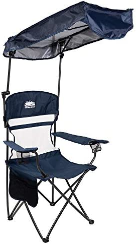 Coastrail Outdoor Sun Shade Folding Camp Chair with Multi Position Adjustable Canopy SPF 50 product image