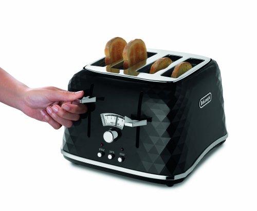 De'Longhi CTJ4003.BK Brillante Faceted 4 Slice Toaster - Black