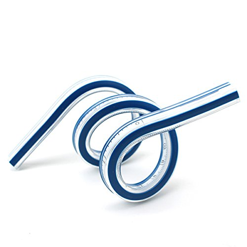 Yarachel 24 Inch / 60 cm Flexible Curve Ruler Soft Plastic Tape Measure Ruler Blue Drawing Measure Tool