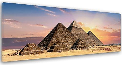 Feeby. Cuadro en lienzo, Imagen impresión, Pintura decoración, Canvas de una pieza, 100x40 cm, PIRÁMIDES, EGIPTO, NATURALEZA, MARRÓN