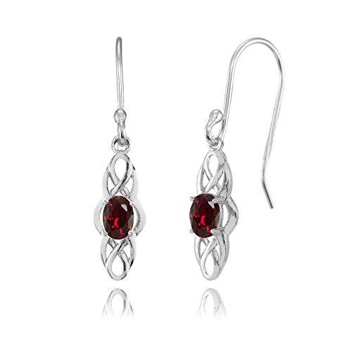 Sterling Silver Created Ruby Celtic Knot Oval Dangle Drop Earrings
