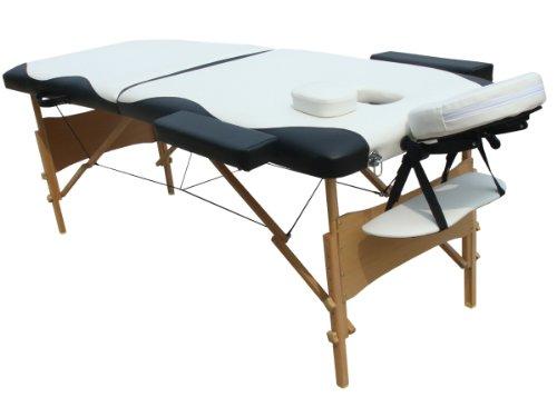 Preisvergleich Produktbild Melko Massageliege Profi 2 Zonen aus Holz,  tragbar und zusammenklappbar,  Weiß / Schwarz - inkl. Schutzhülle