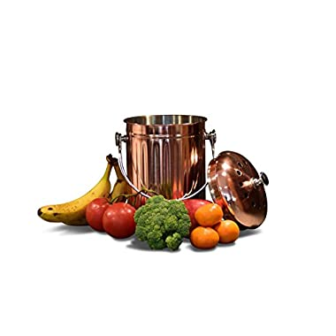 Kitchen Countertop Compost Bin with Lid, Copper Plated Stainless Steel Pail with Bonus 1 Years Worth of Activated Charcoal Filters (1 Gallon)