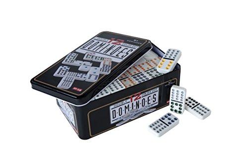 Engelhart- Gran Juego de dominó en una Caja de Metal - Juego táctica para niños y Adultos (Doble 12)