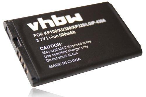 vhbw Li-Ion Akku 600mAh (3.7V) für Handy, Smartphone, Handy LG KG120, KG202, KP105, KP106, KP130, KP210, KP215 wie LGIP-430a, SBPL0093301.